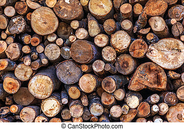 Dry woodpile - Dry chopped firewood logs ready for winter