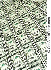 Background of  rows hundred dollars bank notes