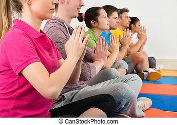 meditação, Grupo,  Multiethnic, pessoas
