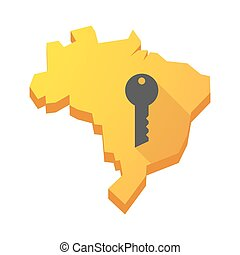 Yellow Brazil map with a key