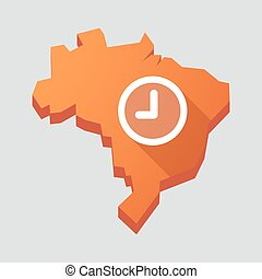 Orange Brazil map with a clock - Illustration of an orange...