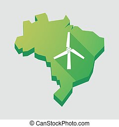 Green Brazil map with a wind generator - Illustration of a...