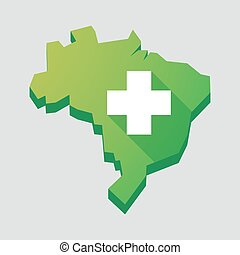 Green Brazil map with a pharmacy sign