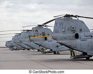 CH-46E Sea Knight - A squadron of CH-46Es on the flightline...