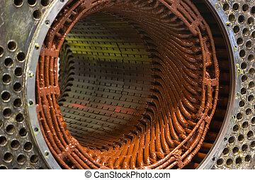 Stator of a big electric motor. repair