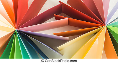 graphic abstract image - top view of two colorful fan shape...