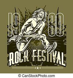 Rock star with guitar on grunge background - rock festival -...