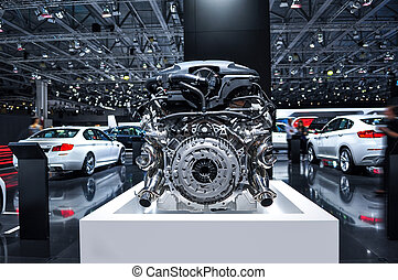 car engine - the new shiny car engine on exhibition
