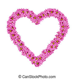 Flowers - Image of Heart frame from flowers on white...