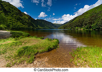 Upper Lake in Glendalough Scenic Park, County Wicklow,...