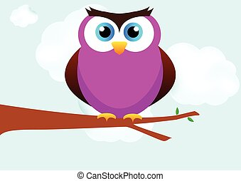 Owl on tree branch background vector illustration.