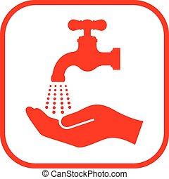 Wash your hand sign on white background