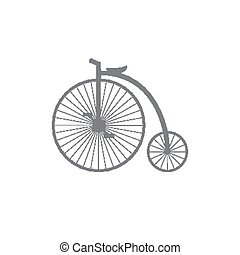 Bicycle - Silhouette Penny farthing on a white background