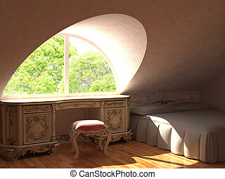 fragment of barocco interiors made in 3d