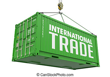 International Trade - Green Hanging Cargo Container. -...