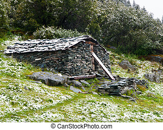 Mountain stone shelter for tourist, bivouac, Yading reserve...