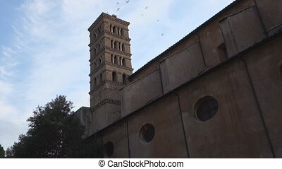St Alessio bell tower - Sant Alessio romanesque basilica in...