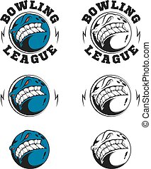 Set of vector bowling labels