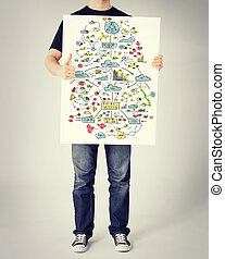 man showing big plan on white board and thumbs up - business...