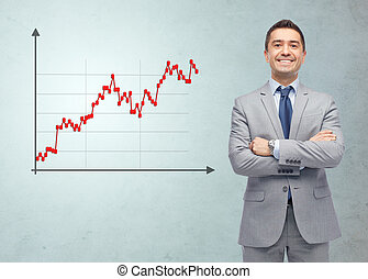 happy smiling businessman in suit with forex chart -...