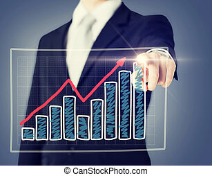 businessman hand with chart on virtual screen