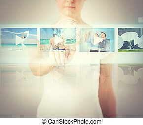 woman pressing button on virtual screen - technology,...