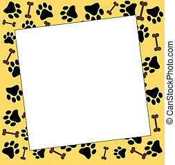 animal frame with bones and paw prints