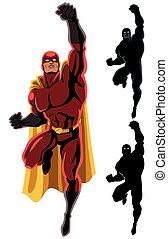 Superhero Flying 2 - Flying superhero over white background....