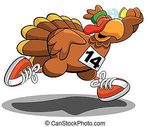 Turkey trot  - Vector illustration of a running turkey.