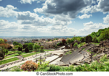 Roman Amphitheatre, Lyon, France - Aerial of the...