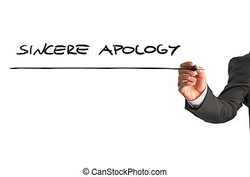 Sincere apology - Closeup of male hand writing Sincere...