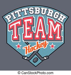 Pittsburgh Hockey Team t-shirt tipographic design