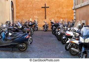 motorcycle is dangerous transport - Lot\'s of motorcycle...
