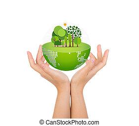 donna, mani, sopra, corpo, presa, eco, amichevole, Terra,