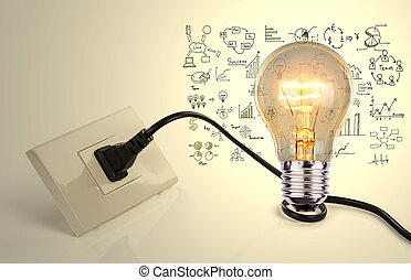 Light bulb and a plug with drawing graph