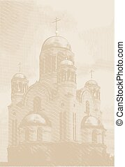 Vector Easters background with church at engraving style