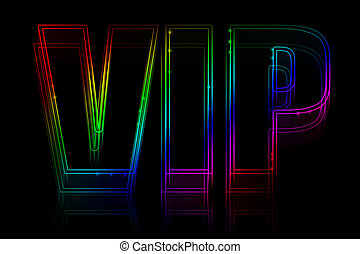 VIP neon sign on black background