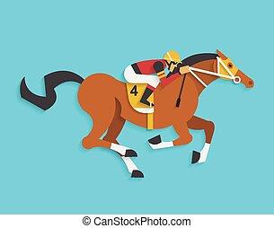 jockey, équitation, course, Cheval, nombre, 4,