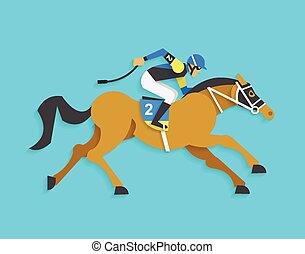 jockey, équitation, course, Cheval, nombre, 2,