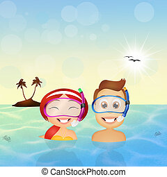Family snorkelers - illustration of family snorkelers