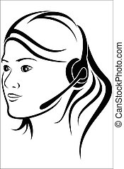Woman with headset in callcenter - Vector illustration :...
