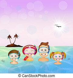 snorkeling - illustration of snorkeling