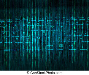 Abstract tech binary background - Abstract tech binary blue...