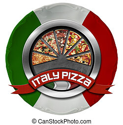 Italy Pizza - Metal Icon on Plate