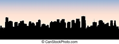 Miami Skyline Silhouette - Skyline silhouette of the city of...