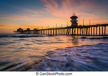 Waves in the Pacific Ocean and the pier at sunset, in...