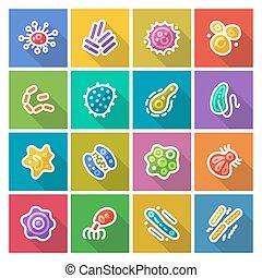 microbios, y, bacterias, plano, iconos, Conjunto,
