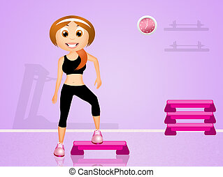 step aerobic - illustration of step aerobic