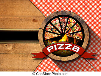 Pizza - Rustic Menu Design - Wooden background with red and...