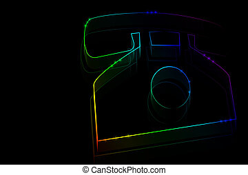 Neon phone symbol on a dark background